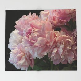 Pink Peony Passion Throw Blanket