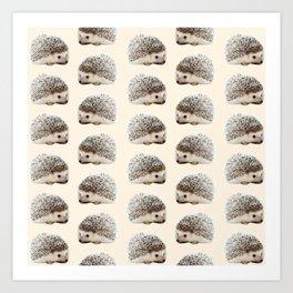 cute beige woodland animal baby hedgehog Art Print