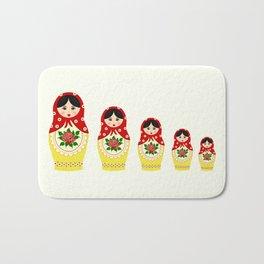 Red russian matryoshka nesting dolls Bath Mat