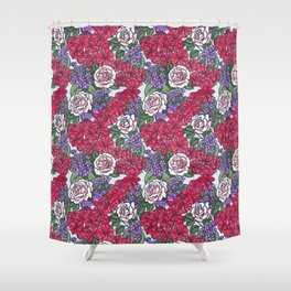 Chevron Floral Bright Shower Curtain