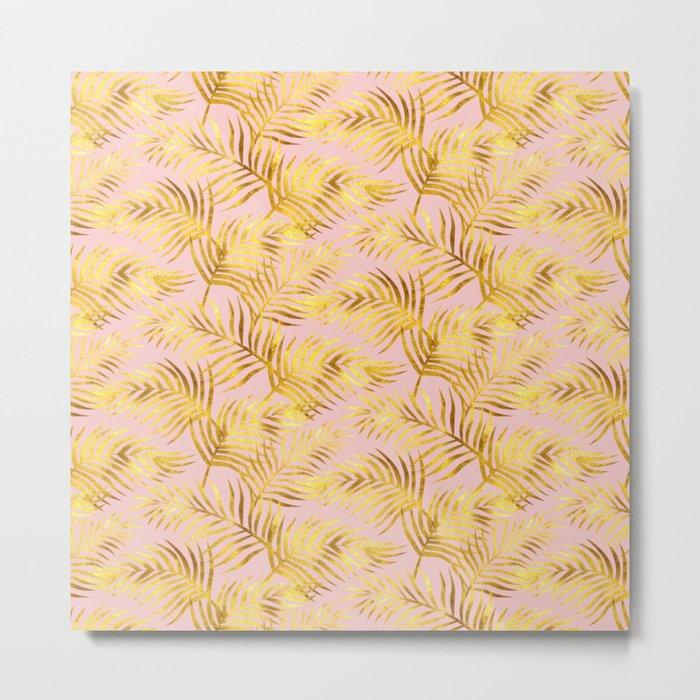 Palm Leaves_Gold and Rose Quartz Metal Print