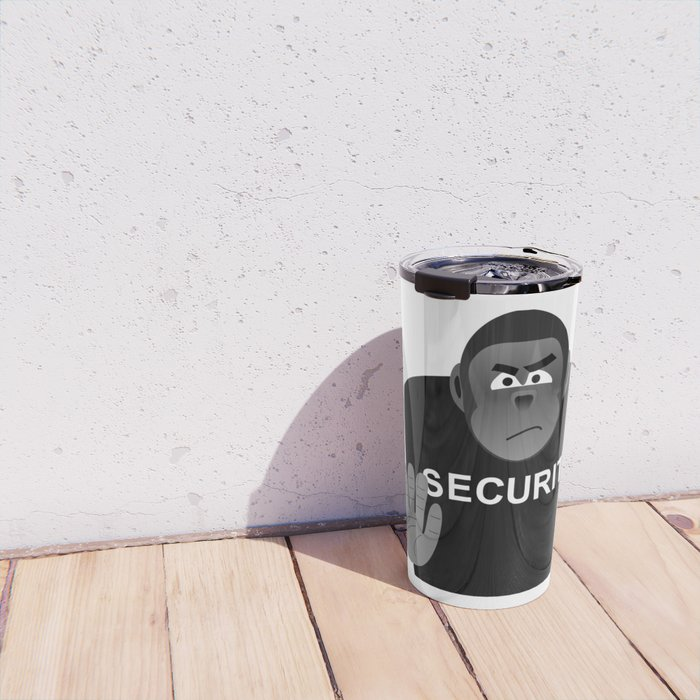 Monkey Security guard stopping the crowd Travel Mug
