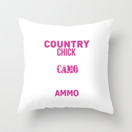 Country Chick Wearing Camo and Rocking Ammo T-shirt Throw Pillow