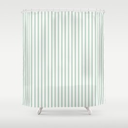Mattress Ticking Narrow Striped Pattern in Moss Green and White Shower Curtain