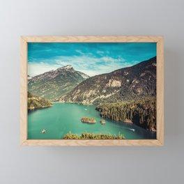 Lake Diablo - Blue and Green Water and Trees Framed Mini Art Print
