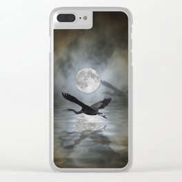 Heron Moon Clear iPhone Case