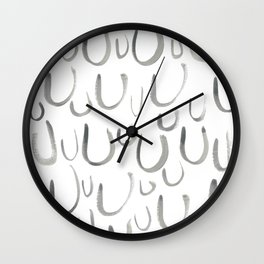 Watercolor U's - Grey Gray Wall Clock