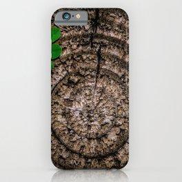 Green leaf Brown wood iPhone Case