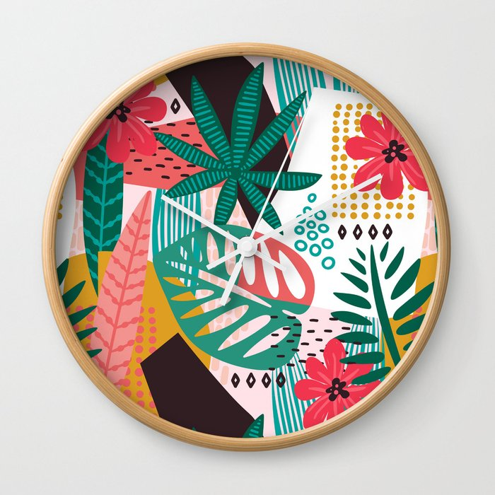 Matisse Inspired Pop Art Tropical Fun Jungle Pattern Wall Clock