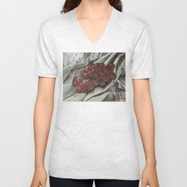 Oil paint on canvas still life painting of grapes on fabric cloth drape contrast fruit  Unisex V-Neck