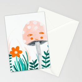 pink mushroom with floral elements Stationery Cards