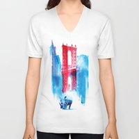 manhattan V-neck T-shirts featuring Manhattan bridge by Robert Farkas