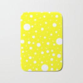Mixed Polka Dots - White on Yellow Bath Mat