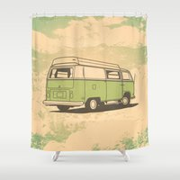 vw bus Shower Curtains featuring VW Bus by QRS Patterns