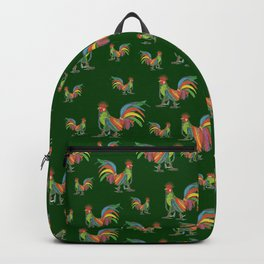 Punky Rooster Pattern on Forrest Green Backpack