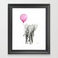 Elephant Watercolor Pink Balloon Whimsical Baby Animal Nursery Girl Art Framed Art Print