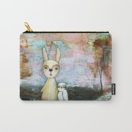 My Best Friend, Rabbit Owl Painting Carry-All Pouch