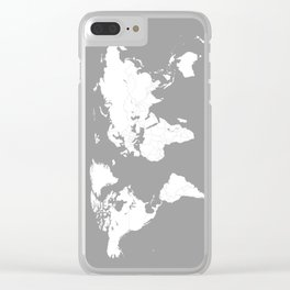Minimalist World Map in Grey Clear iPhone Case