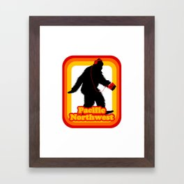 Retro Sasquatch Pacific Northwest Framed Art Print