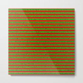 Vintage green red yellow stripes Metal Print