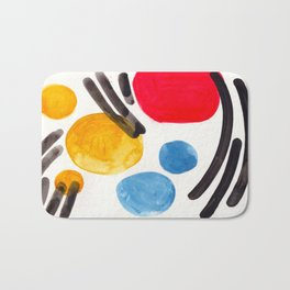 Mid Century Modern Abstract Juvenile childrens Fun Art Primary Colors Watercolor Minimalist Pop Art Bath Mat