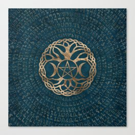 Triple Moon Goddess with pentagram and tree of life Canvas Print