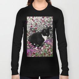 Freckles in Flowers II - Tuxedo Kitty Cat Long Sleeve T-shirt