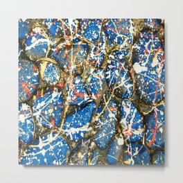 Blue Paint Drip Pollock Stones Metal Print