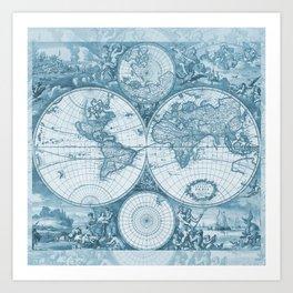 Antique Blue Map Art Print