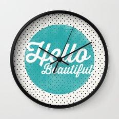 Hello Beautiful Teal Dots typography Wall Clock