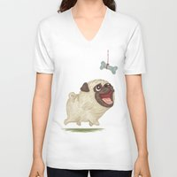 dog V-neck T-shirts featuring Dog by Toru Sanogawa
