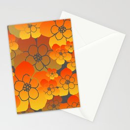 Flower Blossoms Design - yellow orange grey Stationery Cards