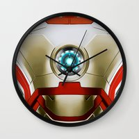 iron man Wall Clocks featuring IRON MAN Iron Man by Veylow