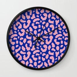 Retro Blue and Pink Leopard Spots Pattern (ix 2021) Wall Clock