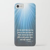 scripture iPhone & iPod Cases featuring Scripture II Timothy 1:7  by bjscarrigan