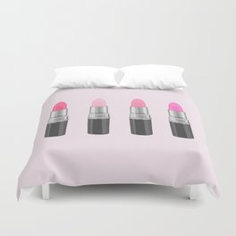 Favorite Pink Lipsticks, girly, lipstick, make up, cosmetics, illustration Duvet Cover