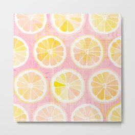 Orange Slices Pastel Fruit Metal Print