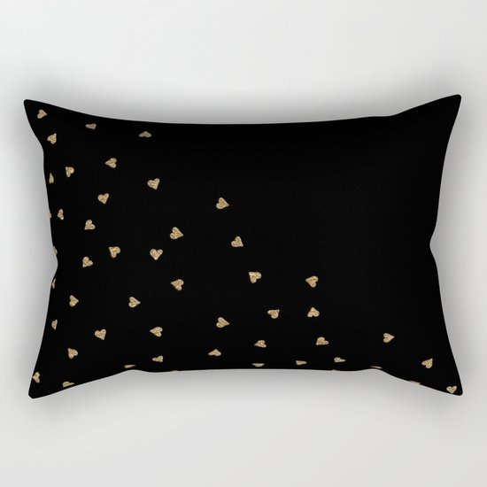 Gold Sparkle Glitter Heart- Luxury and glamour Hearts pattern Rectangular Pillow