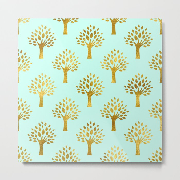 Mint Gold Foil 02 Metal Print