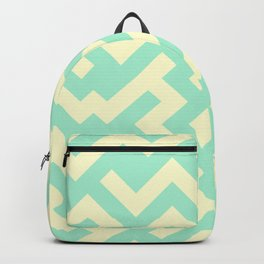 Cream Yellow and Magic Mint Green Diagonal Labyrinth Backpack