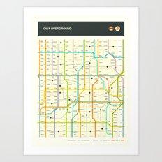 IOWA HIGHWAY MAP Art Print