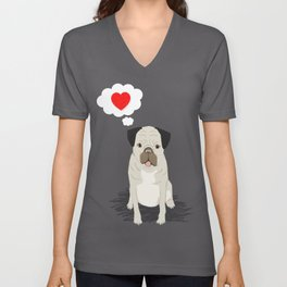 Valentines Pug with Heart - I Love You - Heart, pug, dog, cute, trendy Unisex V-Neck