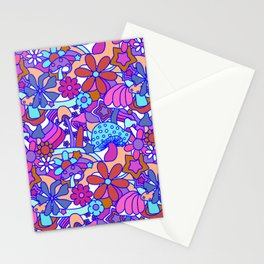 70's Psychedelic Garden in Pink + White Stationery Cards