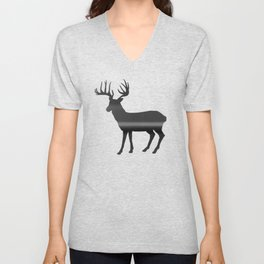 Deer print, Black & White Unisex V-Neck