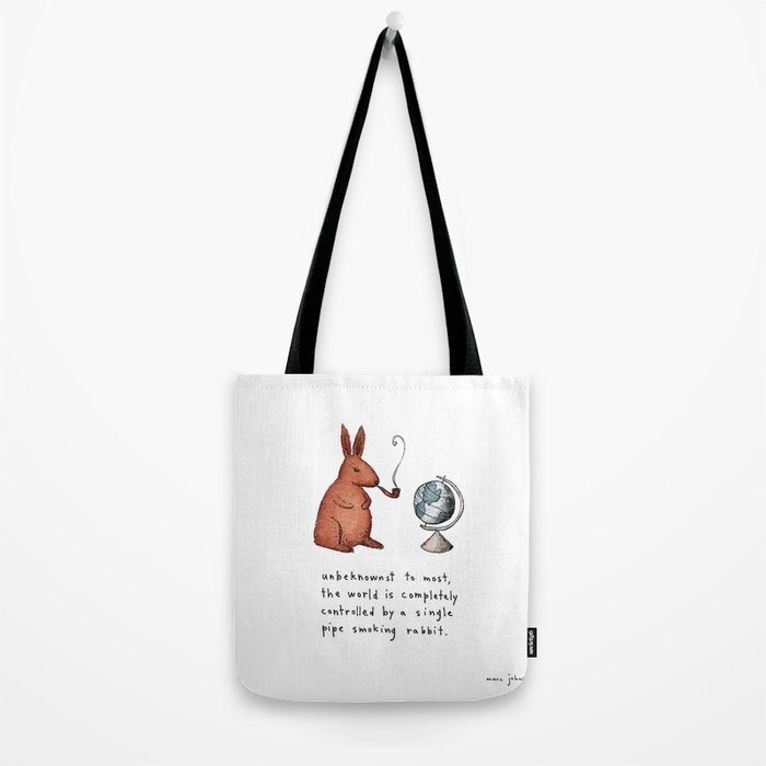 Pipe-smoking rabbit Tote Bag