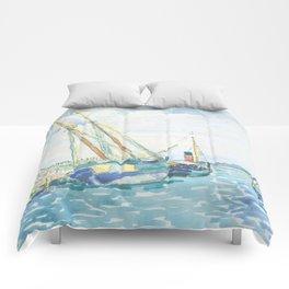 Marine Scene (Boats near Venice) by Henri-Edmond Cross1903, French Comforters