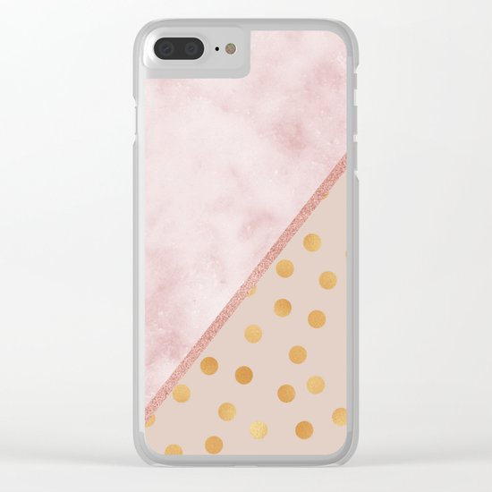 Sivec Rosa marble - golden polka dots Clear iPhone Case