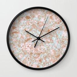 Mint Blush & Rose Gold Metallic Marble Texture Wall Clock