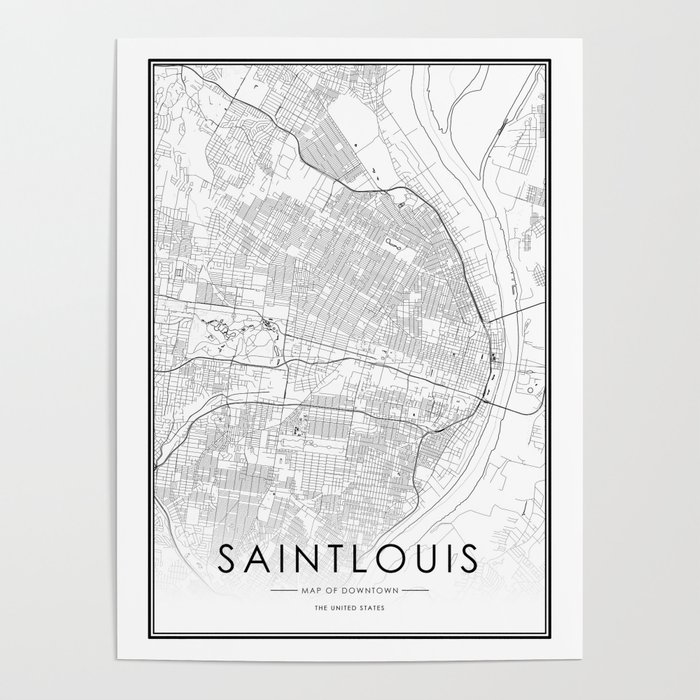 Saint louis City Map United States White and Black Poster by victorialyu