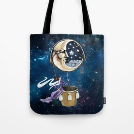 Vintage hot air ballon in a starry galaxy night sky Tote Bag